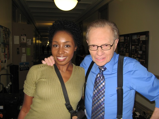 Hair and Makeup Artist Sophia Lenore on CNN set working with Larry King