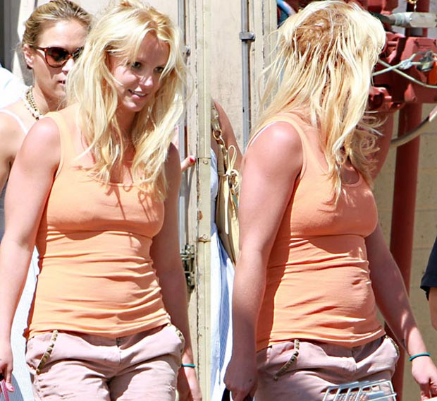 Britney Spears showing damage due to hair extensions