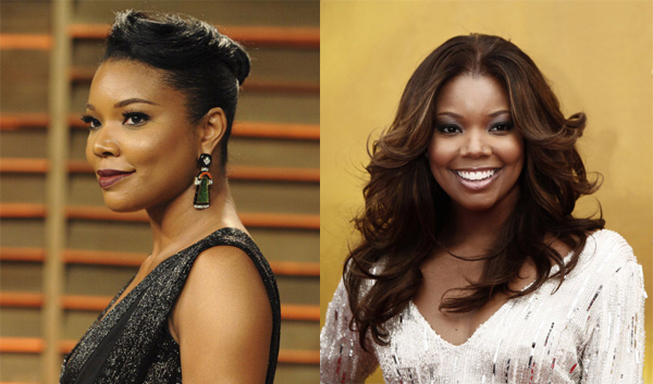 actress Gabrielle Union with and without hair extensions