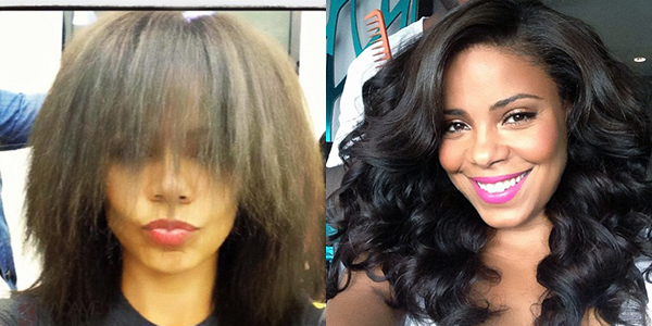 actress Sanaa Lathan with and without hair extensions