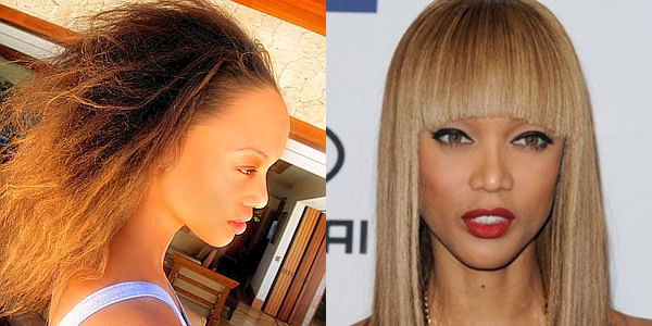 Model Tyra Banks with and without her wigs