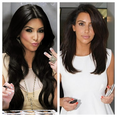 Kim Kardashian with and without her hair extensions