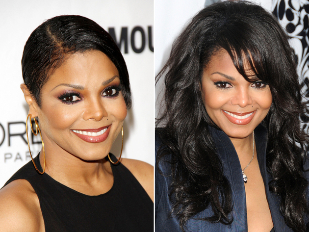 Janet Jackson with and without hair extensions