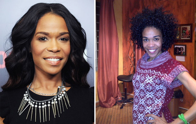 singer Michelle Williams with and without hair extensions