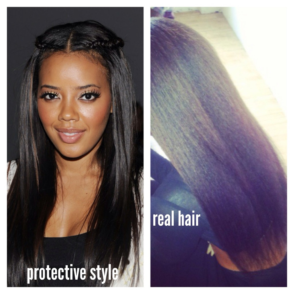 actress Angela Simmons with and without hair extensions