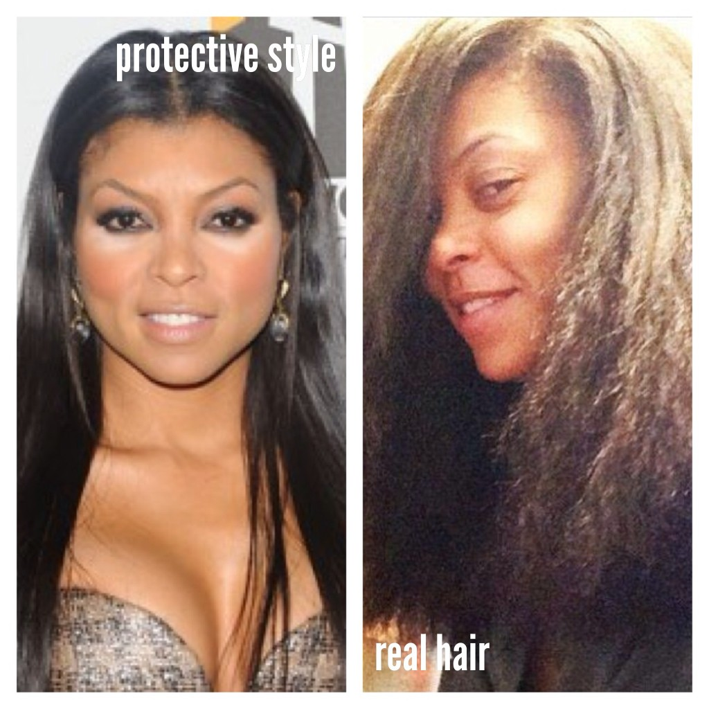 actress Taraji B. Henson with and without hair extensions