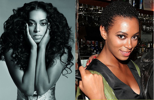 singer Solange Knowles with and without her wigs