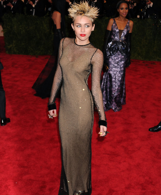 Miley Cyrus in the mesh dress