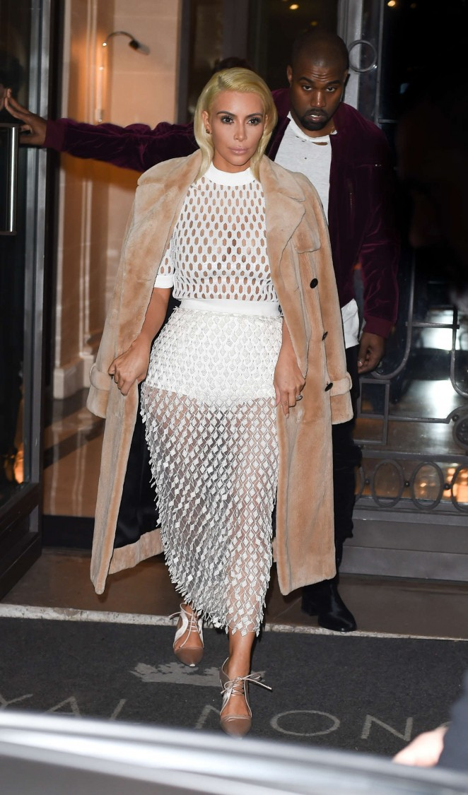 Kim Kardashian in White Mesh Dress