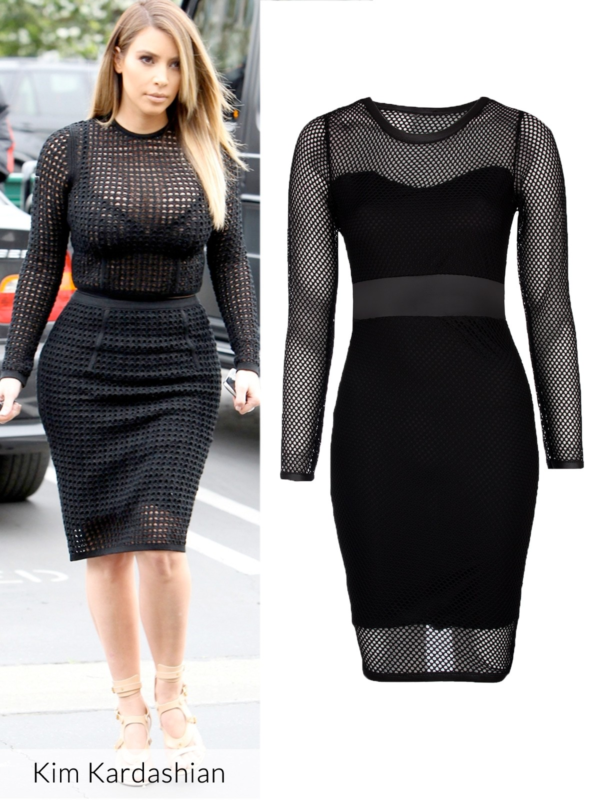 Kim Kardashian in the mesh dress